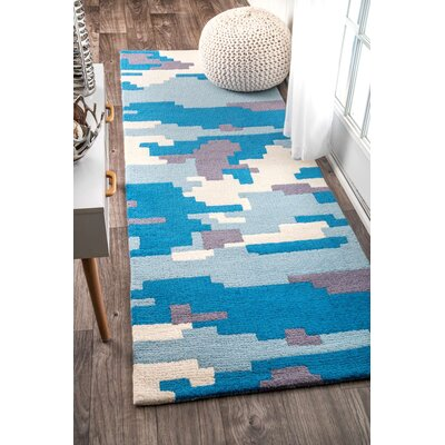 Hand-Tufted Blue Area Rug Rug Size: Runner 28 x 8