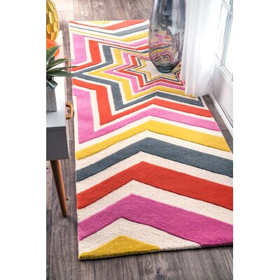 Hand-Tufted Pink/Yellow Area Rug Rug Size: Runner 28 x 8