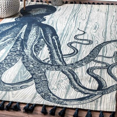 Hand-Woven Octopus Ivory Area Rug Rug Size: Rectangle 5' x 8'