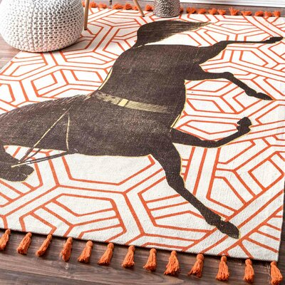 Hand-Woven Mare Orange Area Rug Rug Size: Rectangle 4 x 6