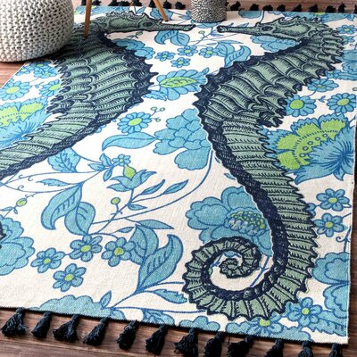 Hand-Woven Seahorse Blue Area Rug Rug Size: Rectangle 5 x 8