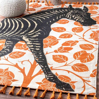 Hand-Woven Zebra Orange Area Rug Rug Size: Rectangle 3 x 5