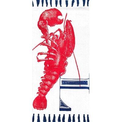 Hand-Woven Lobster Red Area Rug Rug Size: Rectangle 4 x 6