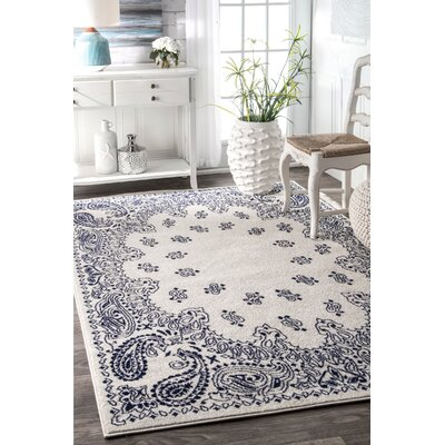 Silver/Blue Area Rug Rug Size: Rectangle 5 x 8