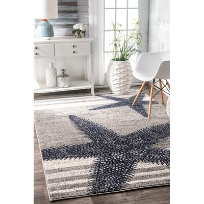 Gray/Blue Area Rug Rug Size: Rectangle 4 x 6
