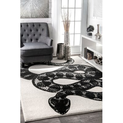 Black/White Area Rug Rug Size: Rectangle 5 x 8