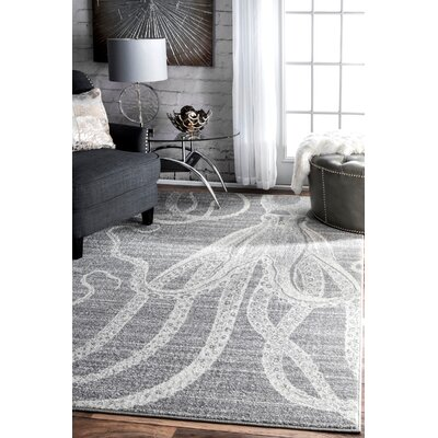 Gray/White Area Rug Rug Size: Rectangle 76 x 96