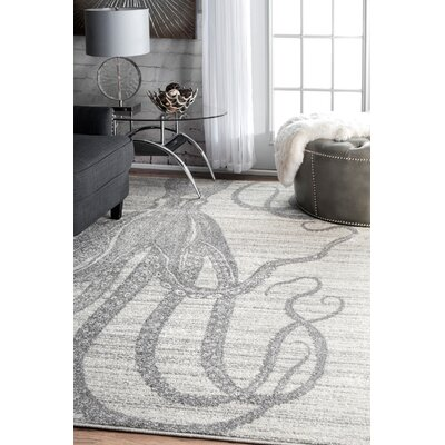 Silver/Gray Area Rug Rug Size: Rectangle 76 x 96