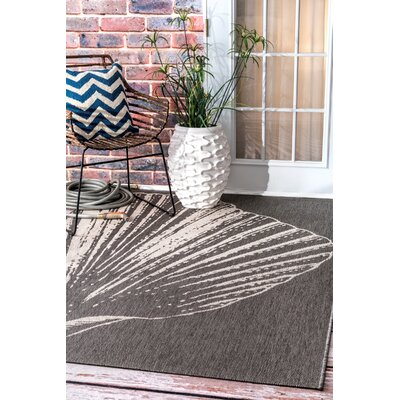 Gray/White Indoor/Outdoor Area Rug Rug Size: Rectangle 76 x 109