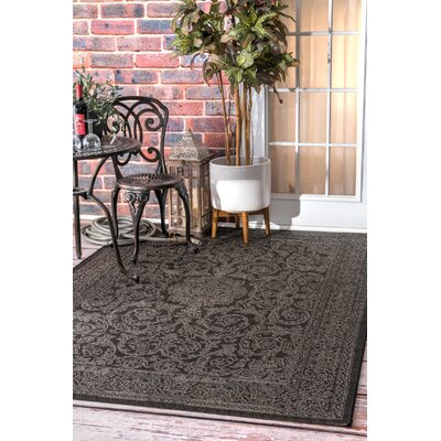 Black/Gray Indoor/Outdoor Area Rug Rug Size: Rectangle 53 x 76