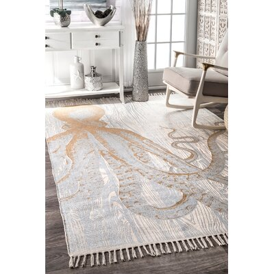 Handmade Cotton Ivory/Orange Area Rug Rug Size: Rectangle 6 x 9