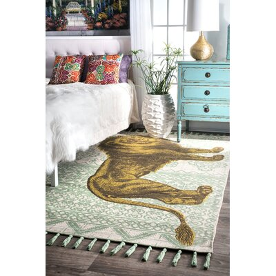 Hand Flat Woven Cotton Green/Yellow Area Rug Rug Size: Rectangle 4 x 6