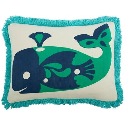 Amalfi Whale Cotton Boudoir Pillow Color: Jade