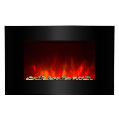 AKDY Piano Black Wall Mounted Electric Fireplace
