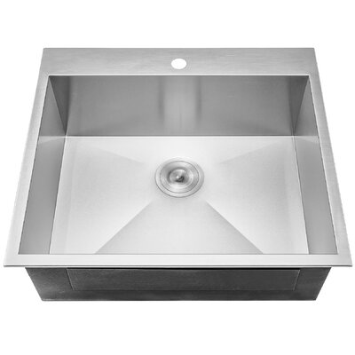 25 x 22 Top Mount Kitchen Sink with Dish Grid and Drain Strainer Kit