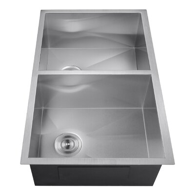 33 x 22 Double Basin Undermount Kitchen Sink with Dish Grid and Drain Strainer Kit