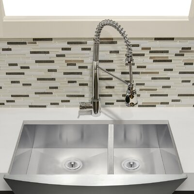 33 X 22 Double Basin Farmhouse Kitchen Sink with Dish Grid and Drain Strainer Kit