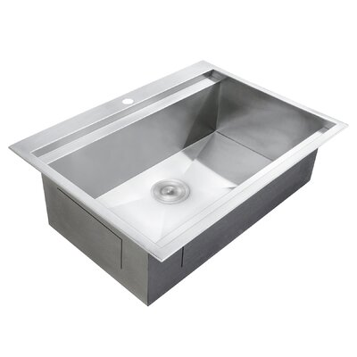Stainless Steel 30 x 22 Drop-In Kitchen Sink with Adjustable Tray and Strainer Kit