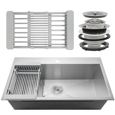 33 X 22 Drop-In Kitchen Sink with Adjustable Tray and Drain Strainer Kit