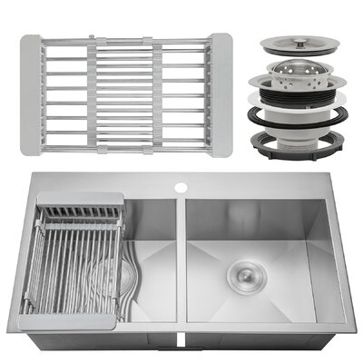33 X 22 Double Basin Drop-In Kitchen Sink Adjustable Tray and Drain Strainer Set