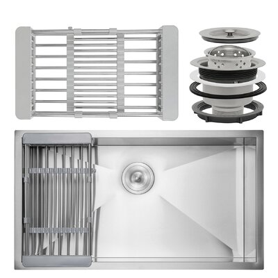 Handmade Single Bowl 30 x 18 Undermount Kitchen Sink with Drain, Strainer Kit and Adjustable Tray