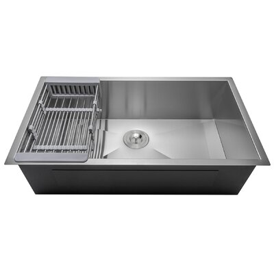 Handmade Single Bowl 32 x 18 Undermount Kitchen Sink with Drain Strainer Kit and Adjustable Tray