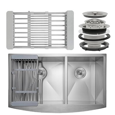 Handmade Stainless Steel 33 x 20 Double Basin Apron Kitchen Sink with Drain Strainer Kit and Adjustable Tray