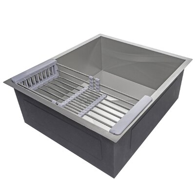 Handmade Stainless Steel 25 x 22 Undermount Kitchen Sink with Drain Strainer Kit and Adjustable Tray