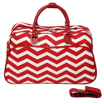 "21"" Travel Duffel Color: Red/cream"