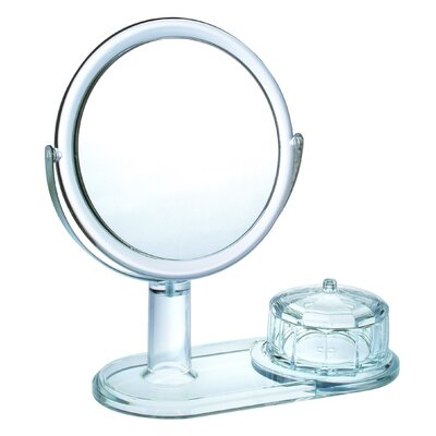Magnifying Mirror With Faceted Jewelry Box