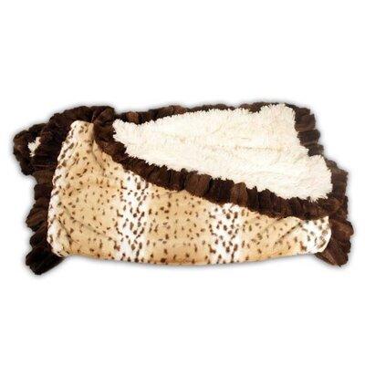 Snow Leopard Ruffle Blanket Size: 58 L x 59 W