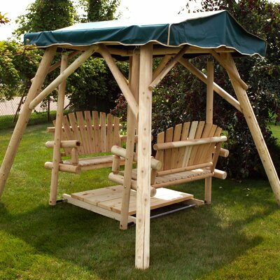 Double Glider Porch Swing Stand Amber Varnish picture