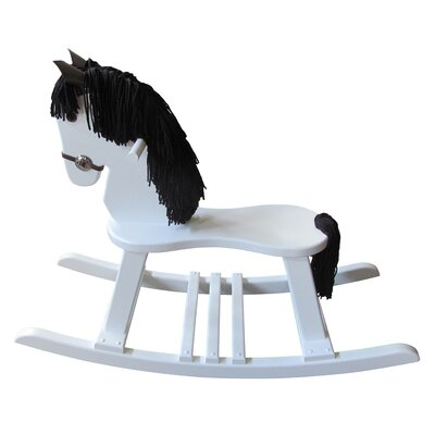 FireSkape Amish Crafted Pony Rocking Horse with Mane - Mane Color: Black, Finish: Maple White