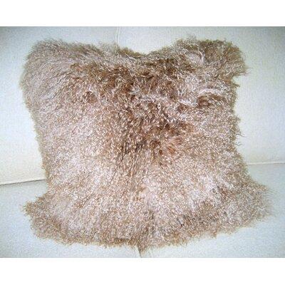 Mongolian Lamb Throw Pillow Color: Mocha
