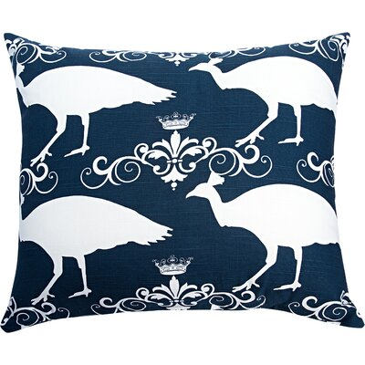 Peacock Accent Cotton Throw Pillow Color: Navy