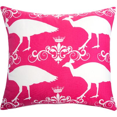 Peacock Accent Cotton Throw Pillow Color: Candy Pink