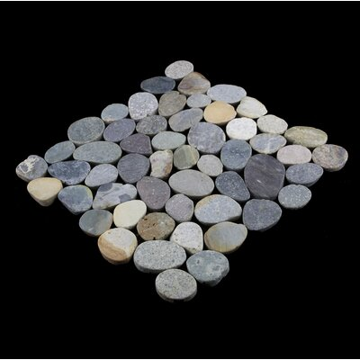 Sliced Random Sized Natural Stone Pebble Tile in River Grey Blend