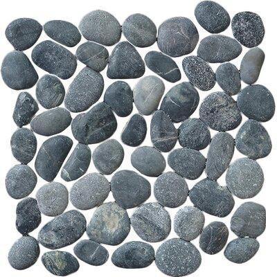 Classic Pebble Random Sized Natural Stone Pebble Tile in Black