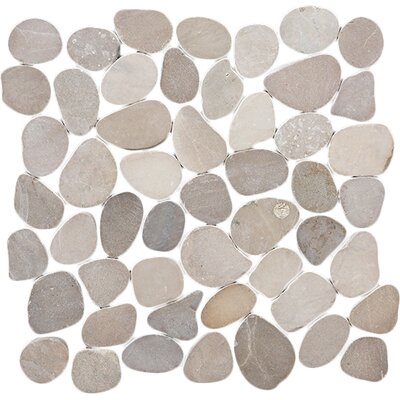 Sliced Pebble Random Sized Natural Stone Pebble Tile in Tan