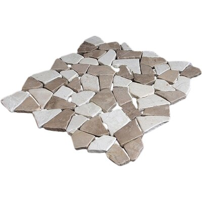 Fit Random Sized Natural Stone Pebble Tile in Tan White Blend