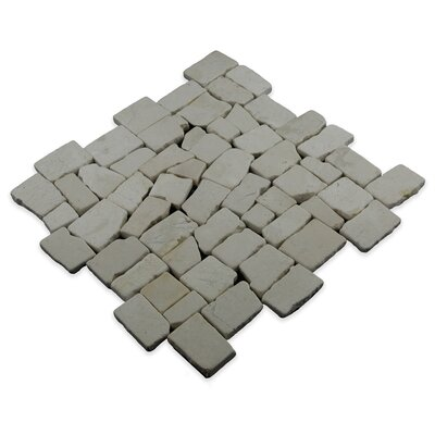 Blocks Random Sized Natural Stone Mosaic Tile in White