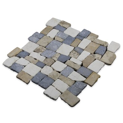 Blocks Random Sized Natural Stone Mosaic Tile in Tan, White and Grey Blend