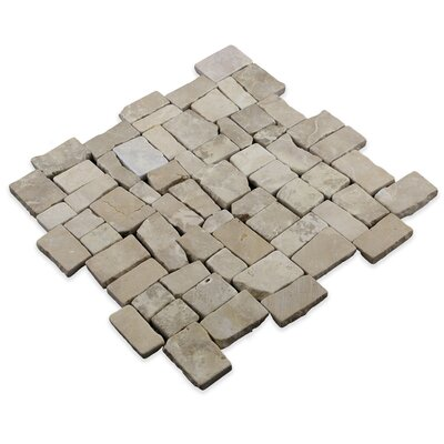 Blocks Random Sized Natural Stone Mosaic Tile in Tan