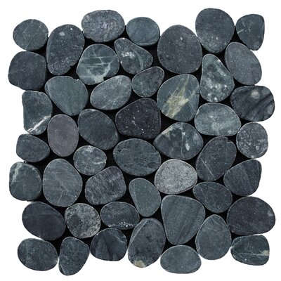 Sliced Pebble Random Sized Natural Stone Pebble Tile in Black
