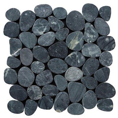 Sliced Pebble Random Sized Natural Stone Pebble Tile in Black