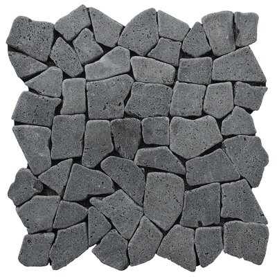 Fit Random Sized Natural Stone Pebble Tile in Black