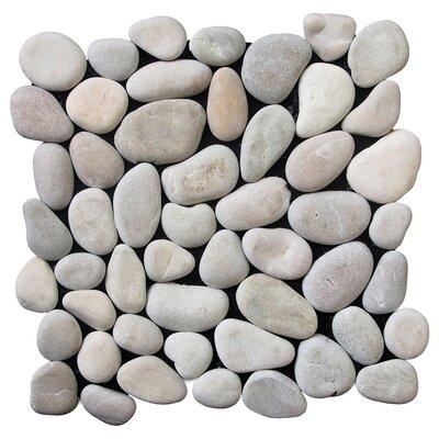 Classic Pebble Random Sized Natural Stone Pebble Tile in Tan