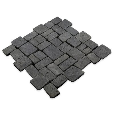 Blocks Random Sized Natural Stone Mosaic Tile in Black