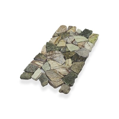 Border Interlock Forest 6 x 11 3/4 Natural Stone Pebbles/Rocks Tile in Green Brown Mix
