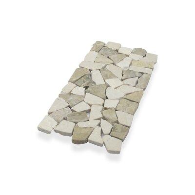 Border Interlock 6 x 11 3/4 Natural Stone Pebbles/Rocks Tile in Beige/Tan